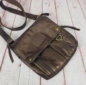 Fossil Metallic Morgan Traveler Leather Top Zip